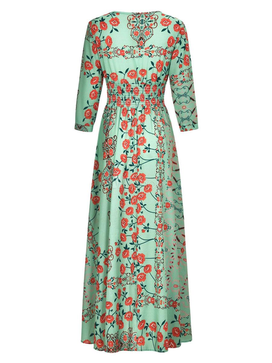 maxikleid 3/4 Ärmel sommerkleider lang grün damenmode v-ausschnitt mit  printmuster für sommer maxi kleid und alltag chiffon kleider