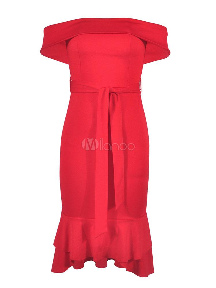 designer fashion 6ffc8 9e39f Vestito aderente rosso Off The Shoulder Ruffles Abito tubino senza maniche