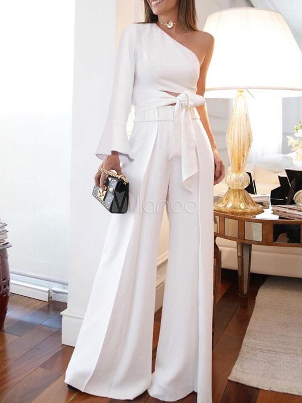 ec451f5ac71a Conjuntos de dos piezas Un hombro anudado Camiseta de manga larga con  pierna ancha Pantalón Traje blanco para mujeres