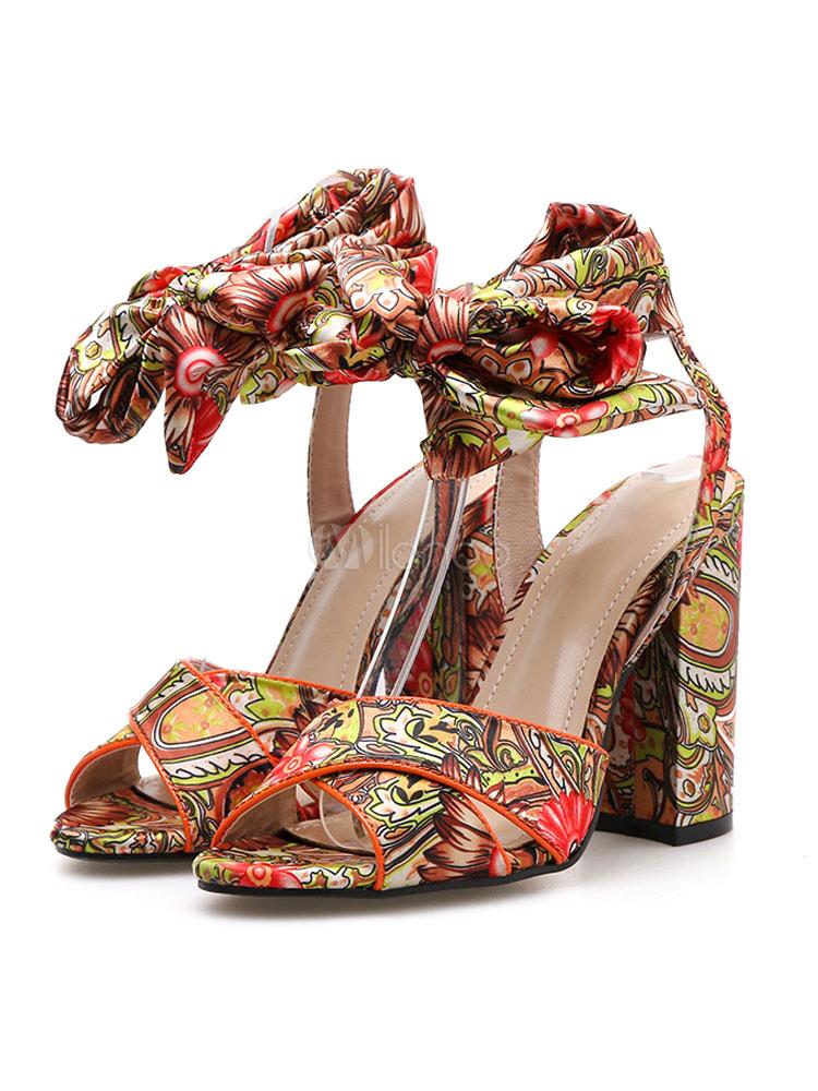 Open Floral Sandaletten Damen Toe Schnürschuhe High Bedruckte Heel Sandale Blockabsatz srxhQCtodB