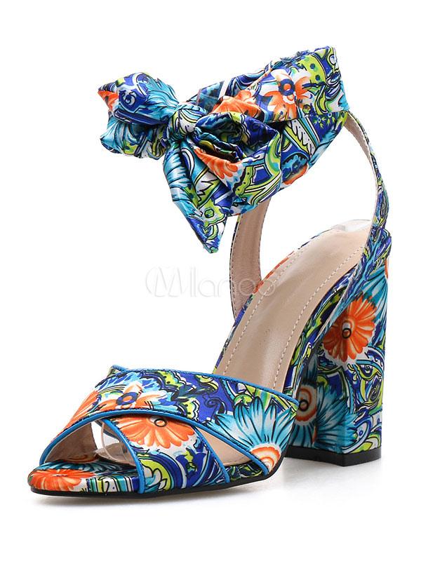 Floral Bedruckte Sandaletten Heel Toe Open Schnürschuhe High Blockabsatz Sandale Damen Yb76fIygv