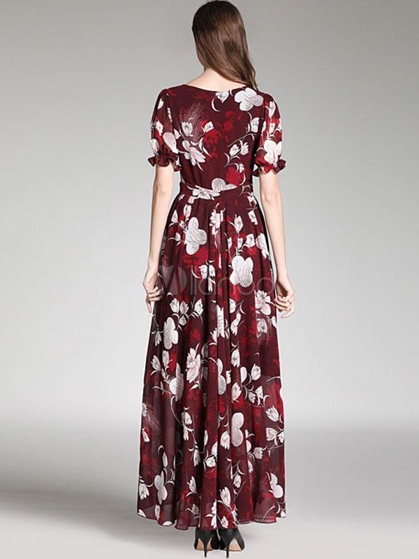 premium selection 553fa 1b2b8 Maxikleid kurze Ärmel Langes Kleid und Rundkragen Dunkelrot und Printmuster  und Reißverschluss Party Kleid