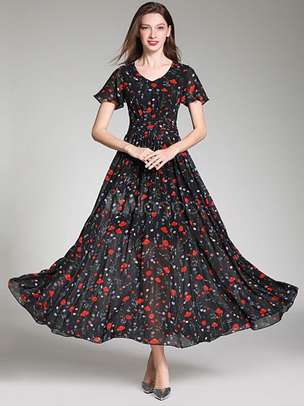 Vestidos Largos Casual Con Cuello En V Cremallera Manga Corta Estampado Floral Negro 120 Cm Vestido Largo Hasta El Suelo Con Forma De Gasa