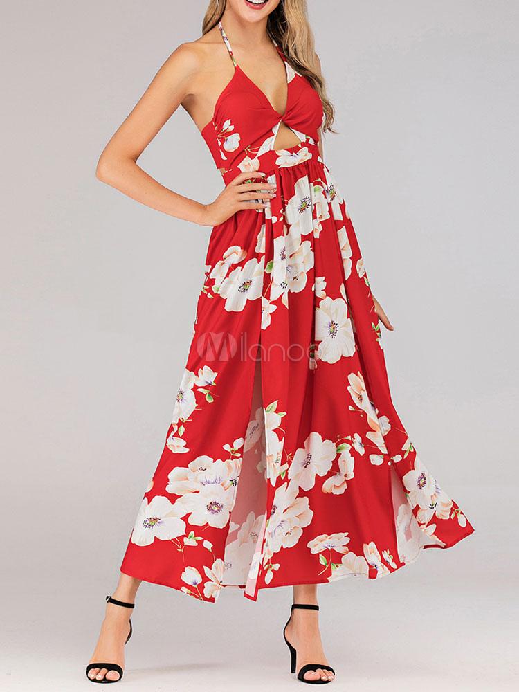 hot sale online 9878a a0eec Maxi abiti rossi lunghi abiti da vacanza in chiffon con stampa floreale
