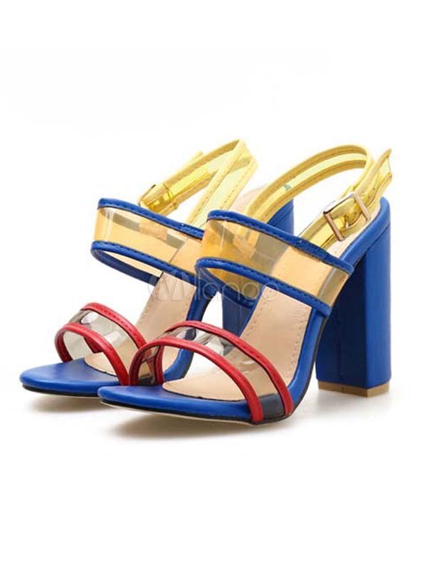 in vendita d912d 06b1c Sandalo da donna Tacco a spillo Sandali azzurri Open Toe Color Block Scarpe  da donna