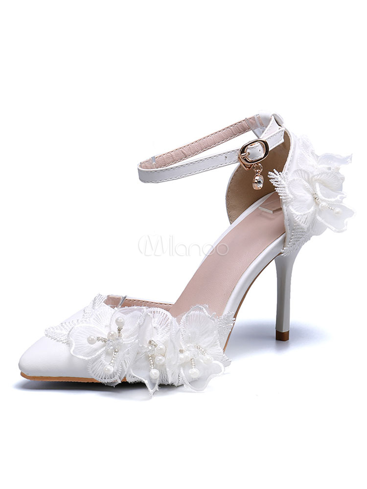 Scarpe Sposa Fiori.Scarpe Da Sposa Cuoio Bianco Punta A Punta Fiori Tacco A Spillo
