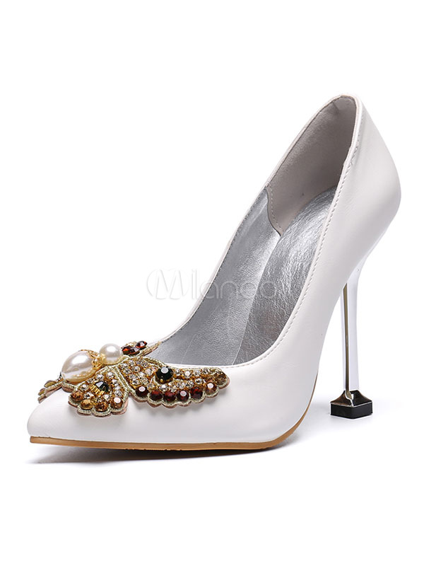 Scarpe Sposa Milanoo.Scarpe Da Sposa Pu Leather White Pointed Toe Butterfly Goblet Heel
