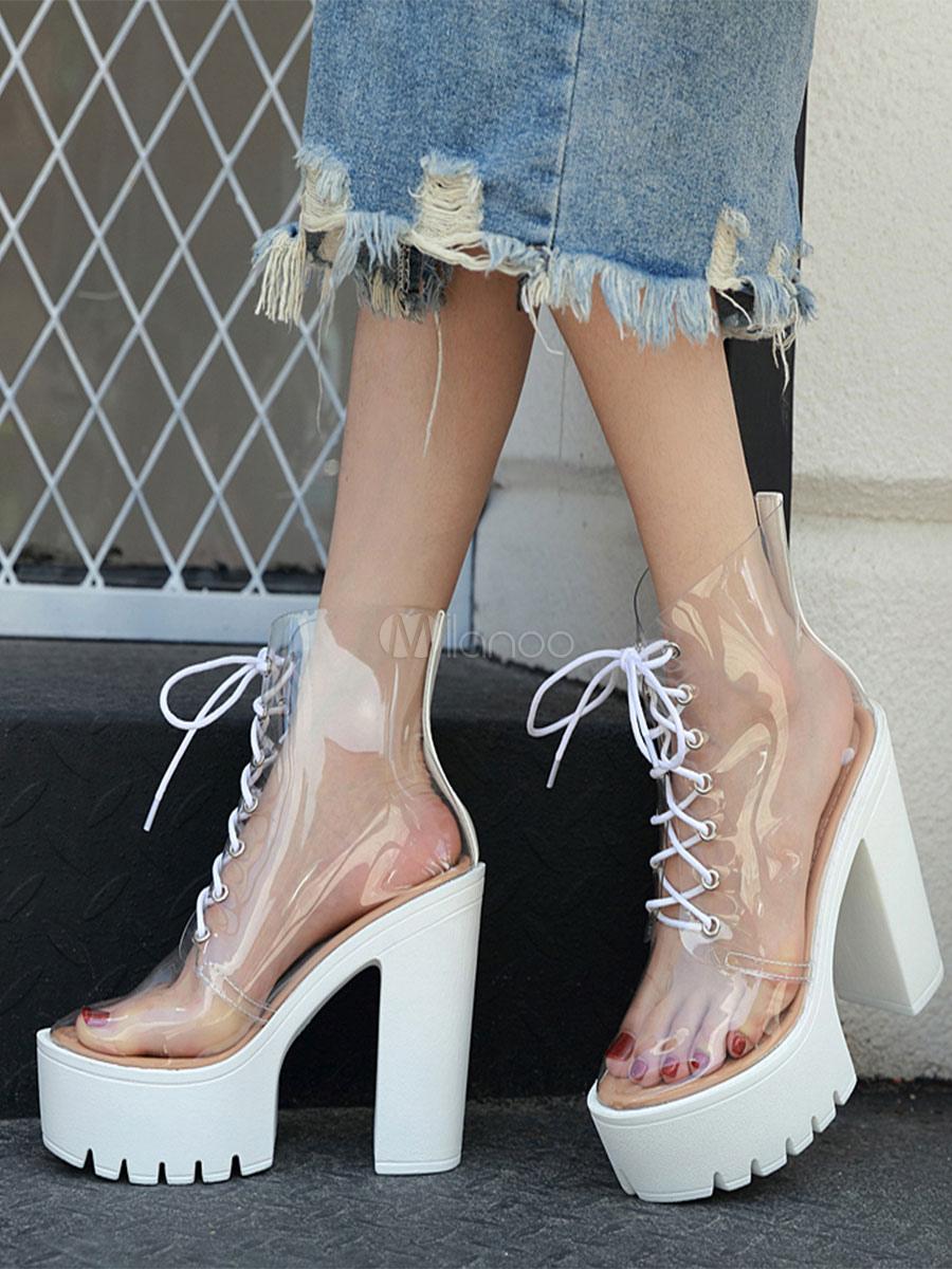 Blancas Cordones 5 Botas Con Sandalias 1 Transparente kXiTPuwZO