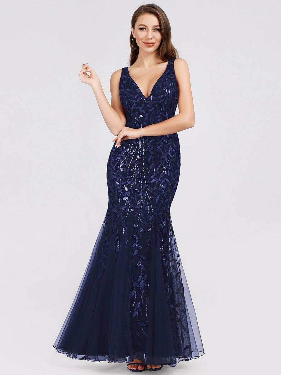 Sequin Dress 2020 Deep V Neck Sleeveless Floor Length Formal Party Dress Wedding Guest Dresses