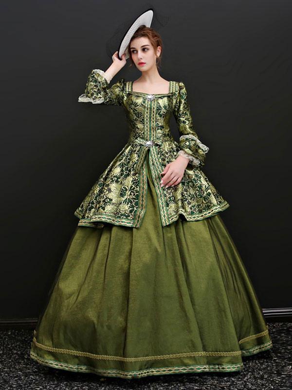 design senza tempo c13e5 db425 Costumi retrò da donna in pizzo con stampa di marie Marie Antoinette  Costume ruches in strass Rococo Masquerade Dress
