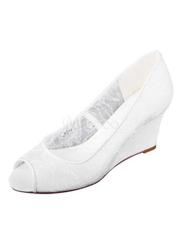 Scarpe Sposa Pizzo Bianche.Scarpe Da Sposa In Pizzo Bianco Peep Toe Wedge Heel 3 Scarpe Da