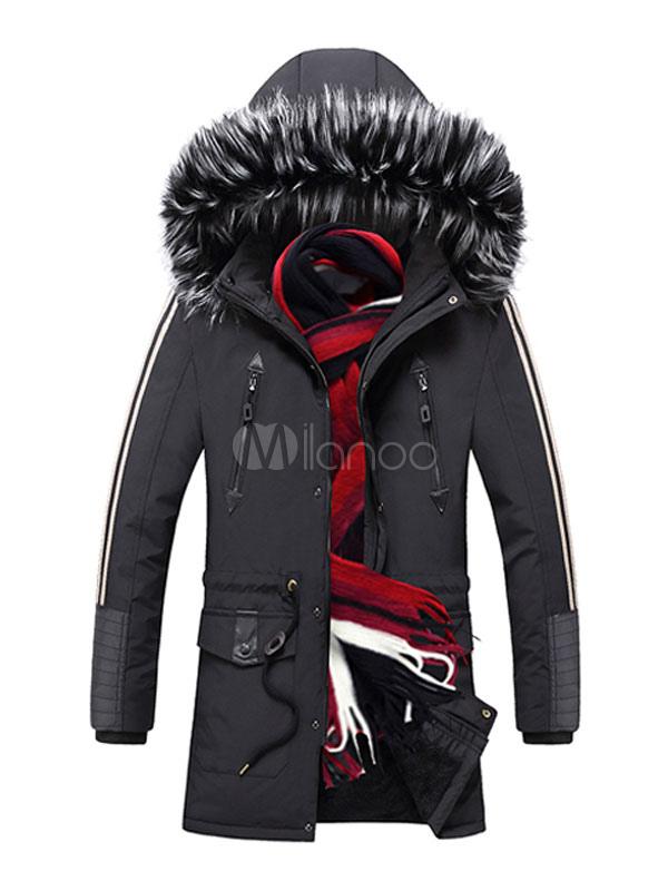 Manteau Casual Parka Homme Avec Poches Et Fourrure Pour L'hiver