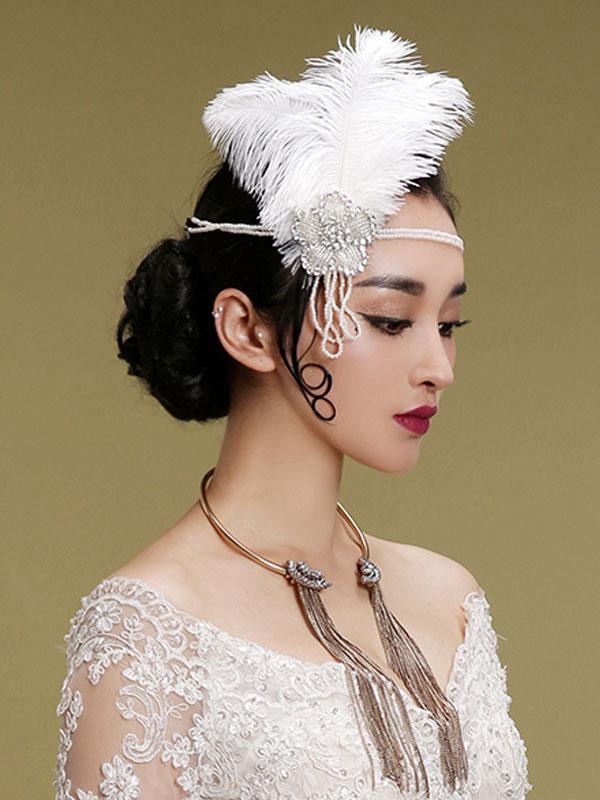 Fler Dress Accessories White Beaded Feather Rhinestone 1920s Great Gatsby Accessory Headpiece