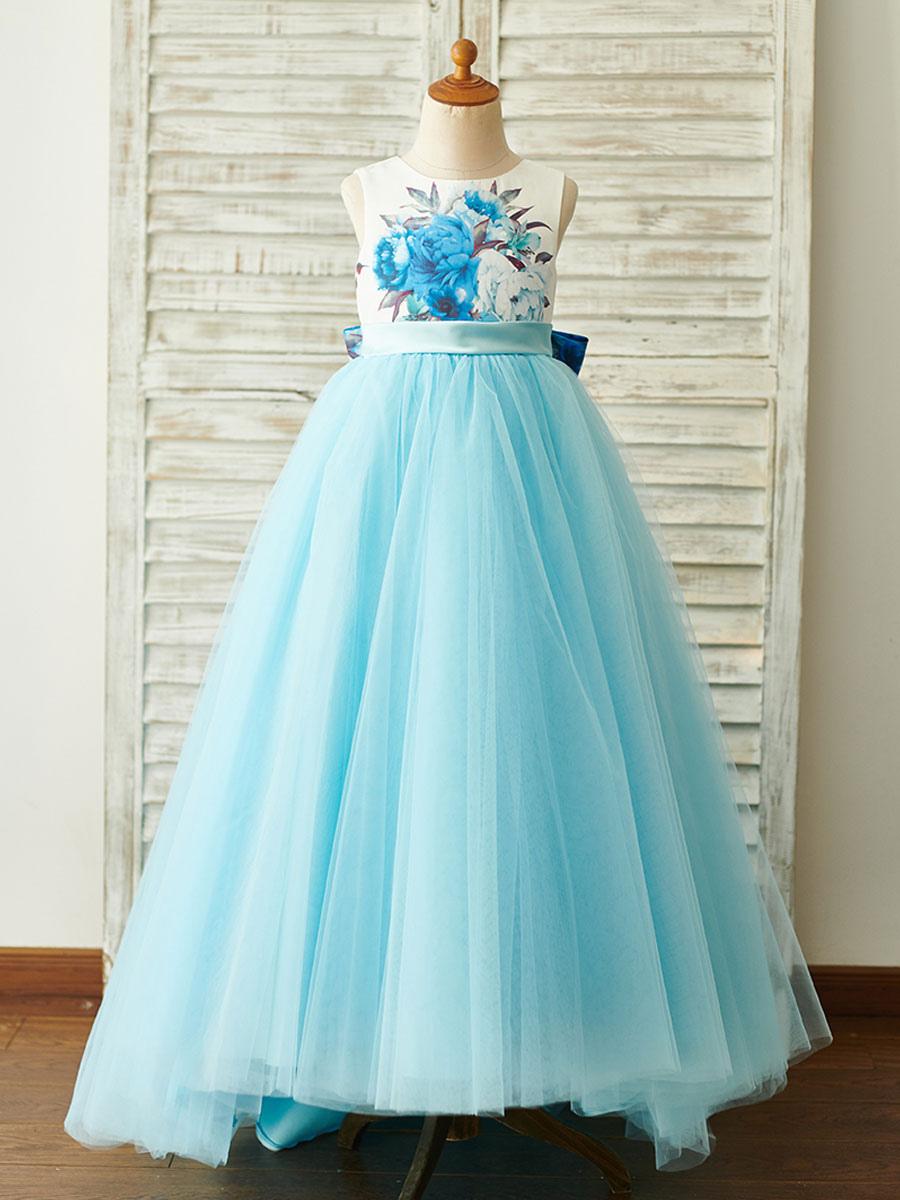 Blumenmädchen Kleider Prinzessin Babyblau Abendkleider für Hochzeit Mit  Schleppe mit Rundkragen Hochzeit Tüll ärmellos kleid blumenmädchen