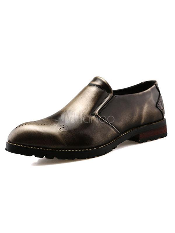 eba1c3b93ba23 Men's Loafer Shoes Slip-On Distressed Almond Toe Patent Leather Vintage  Shoes