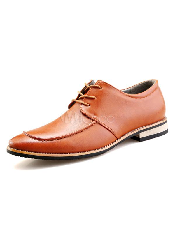 precios de liquidación el precio se mantiene estable donde puedo comprar Zapatos de vestir para hombre Zapatos modernos de hombre con punta de  almendra con cordones de cuero de PU