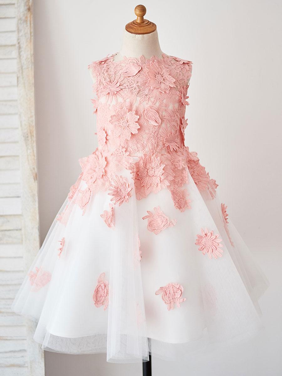 Blumenmädchen Kleider Rosa Abendkleider für Hochzeit Tüll ärmellos  Prinzessin Hochzeit mit Rundkragen kleid blumenmädchen knielang und  Reißverschluss