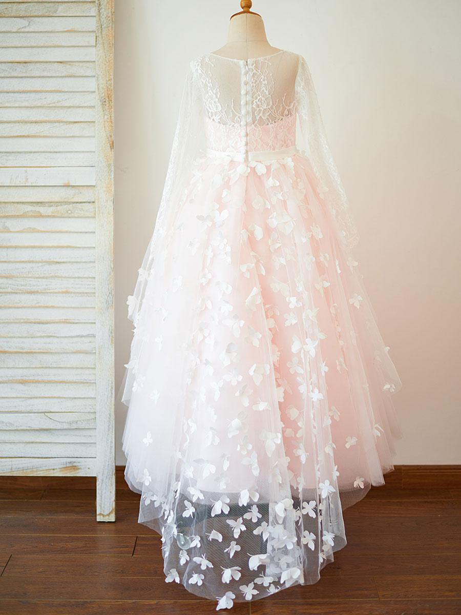 blumenmädchen kleider prinzessin rosa abendkleider für hochzeit bodenlang  mit rundkragen hochzeit tüll langarm kleid blumenmädchen und reißverschluss