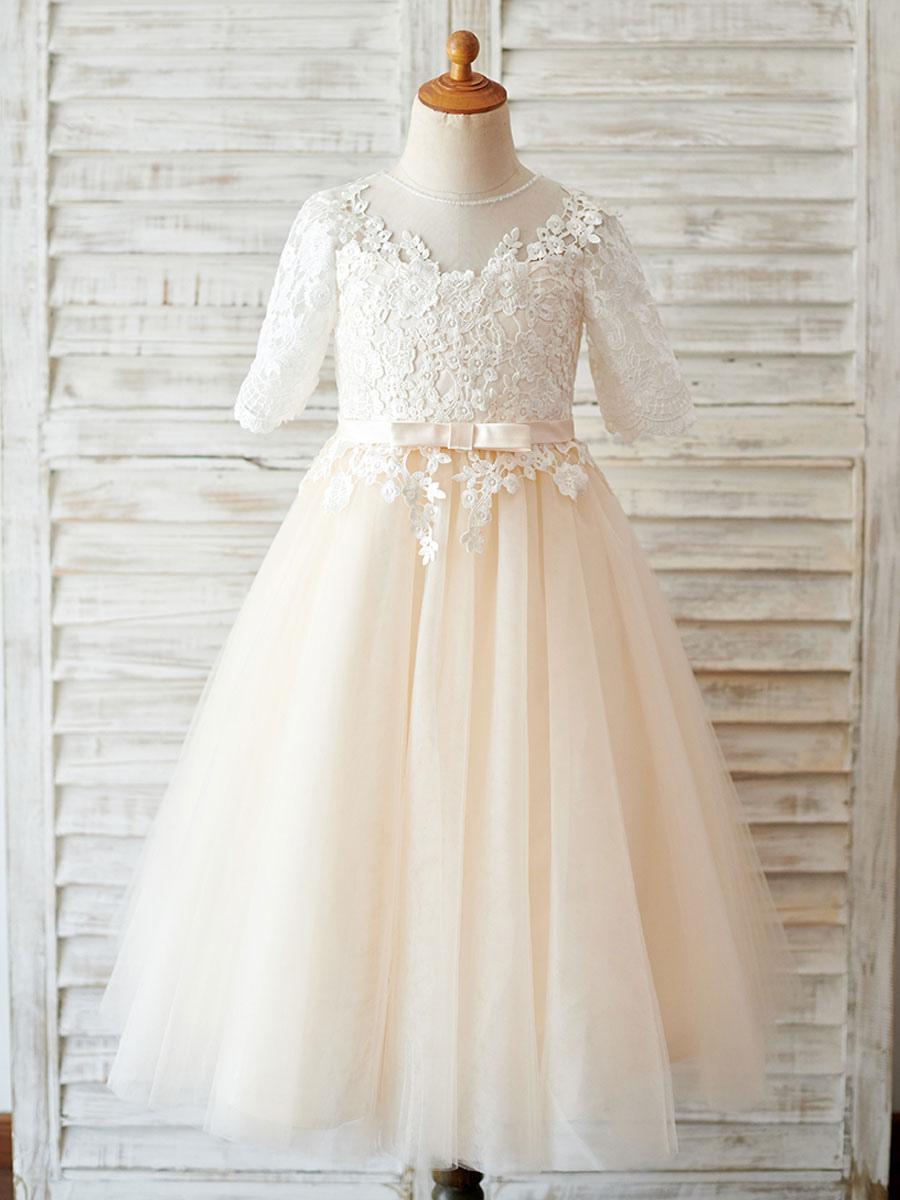 Blumenmädchen Kleider Champagner Abendkleider für Hochzeit Tüll Kurzarm  Prinzessin Hochzeit mit Rundkragen kleid blumenmädchen wadenlang