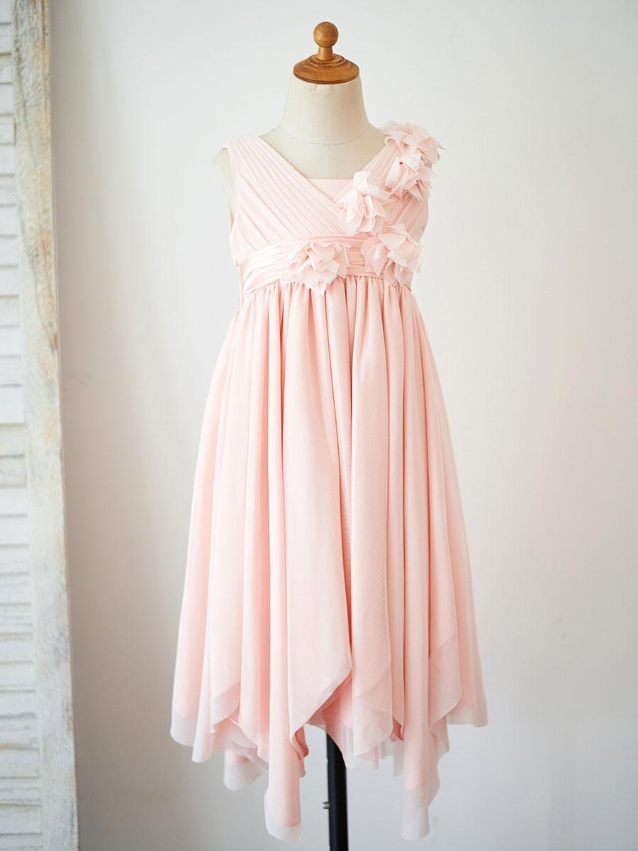 Blumenmädchen Kleider Rosa Abendkleider für Hochzeit Tüll ärmellos  Prinzessin Hochzeit V-Ausschnitt kleid blumenmädchen knielang