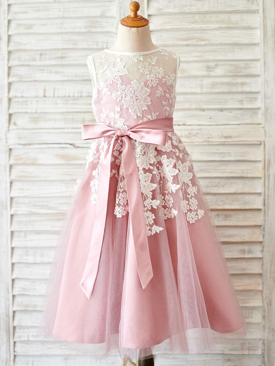 blumenmädchen kleider prinzessin kamee rosa abendkleider für hochzeit  wadenlang mit rundkragen hochzeit tüll ärmellos kleid blumenmädchen