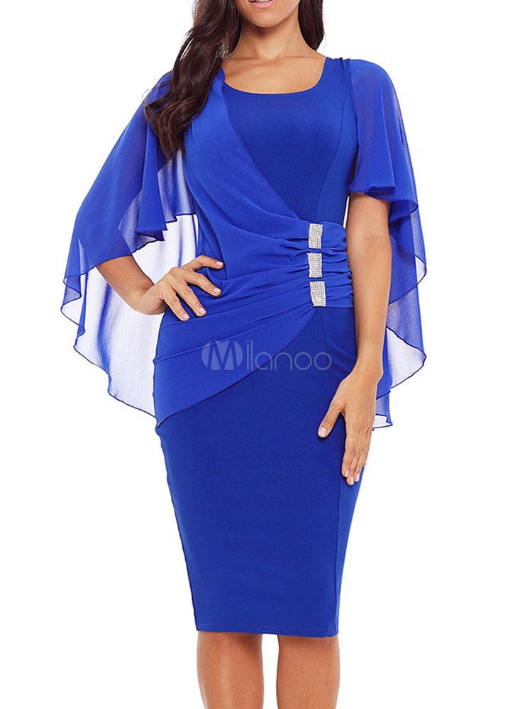 Etuikleid U Ausschnitt Kleider 3 4 Armel Blau Brokat Damenmode