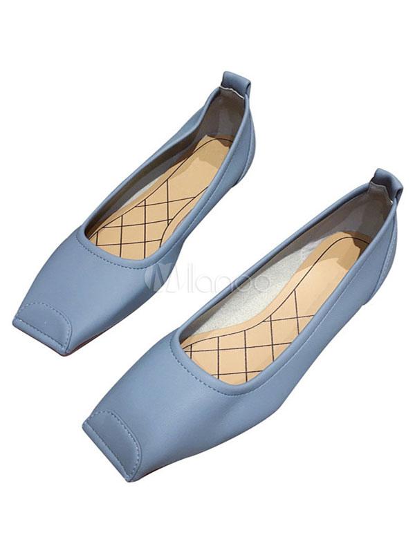 Women's Ballet Flats Leather Square Toe