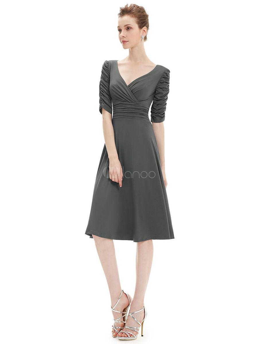 Formal Party Dress 2020 Half Sleeve Knee Length Prom Dress Wedding Guest Dresses