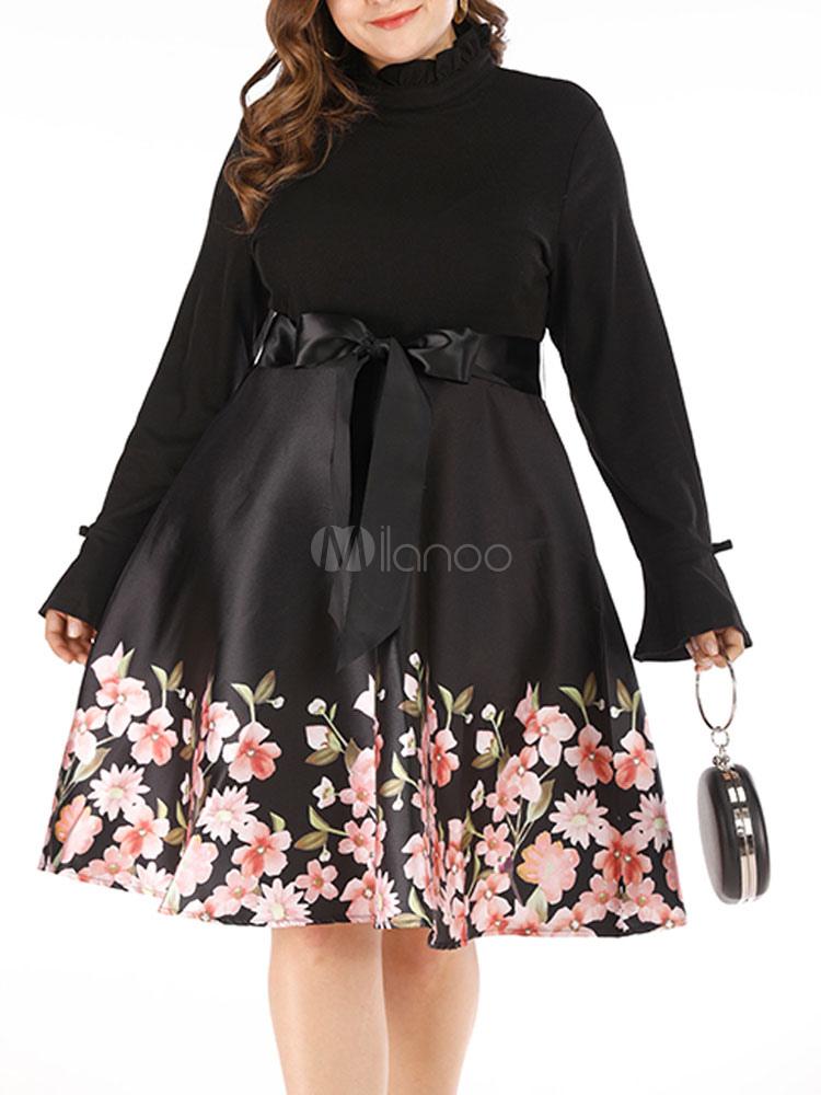 Plus Size Dress Women Floral Print Black Long Sleeve Skater Dress