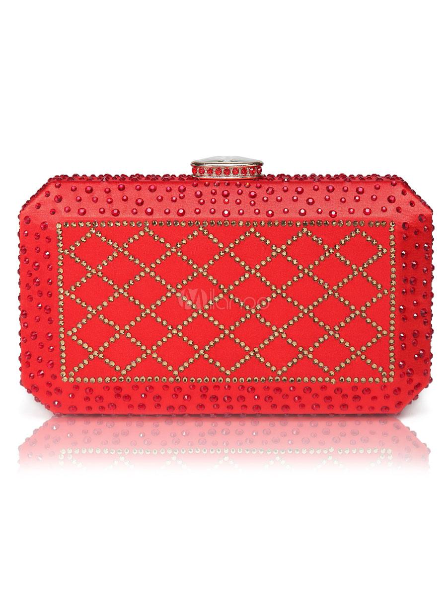 Evening Clutch Bags Satin Rhinestones Artwork Kiss Lock Closure Wedding Guest Handbag