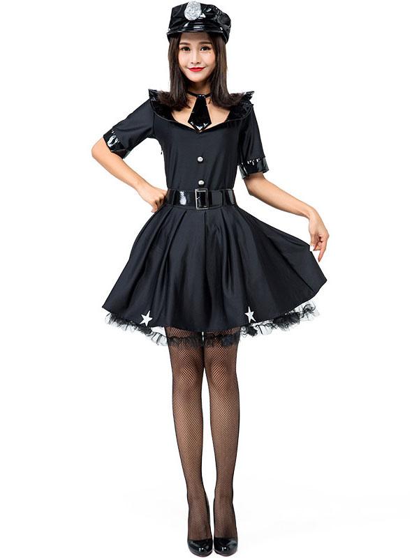 neue Sachen gehobene Qualität fairer Preis Halloween Kostüme Damen Cop Schwarz Sexy Kleid Handschellen PU Leder  Halloween Urlaub Kostüme Karneval Kostüm