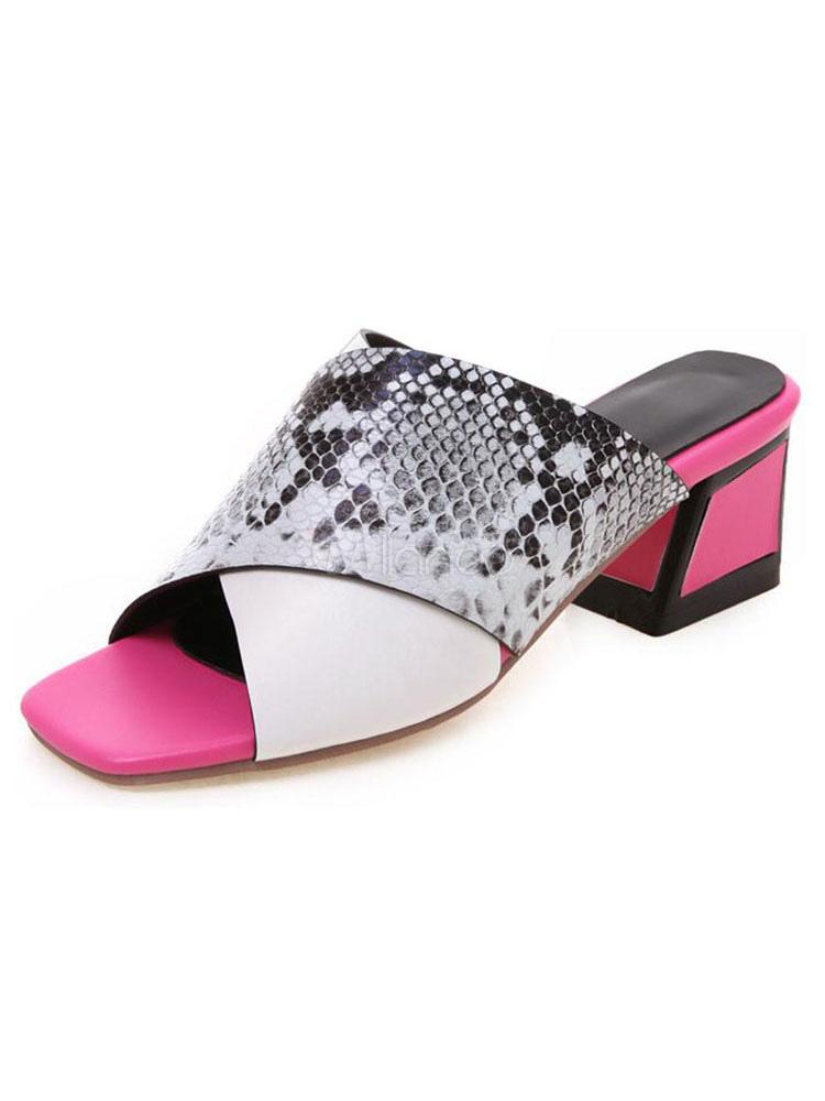 buy popular 5ad8a 65c50 Damen Pantoletten% 26 Clogs PU Leder Geometrische Criss-Cross-Schuhe