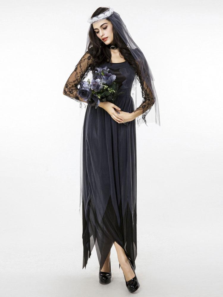 Vestiti Da Sposa Halloween.Costume Carnevale Costumi Di Halloween Abito Da Copricapo Di Pizzo