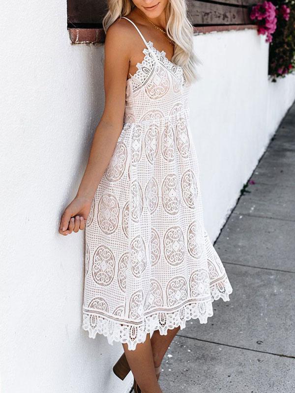 Spitzenkleider Weiß Kleid Mit Spitze mit figurbetonendem