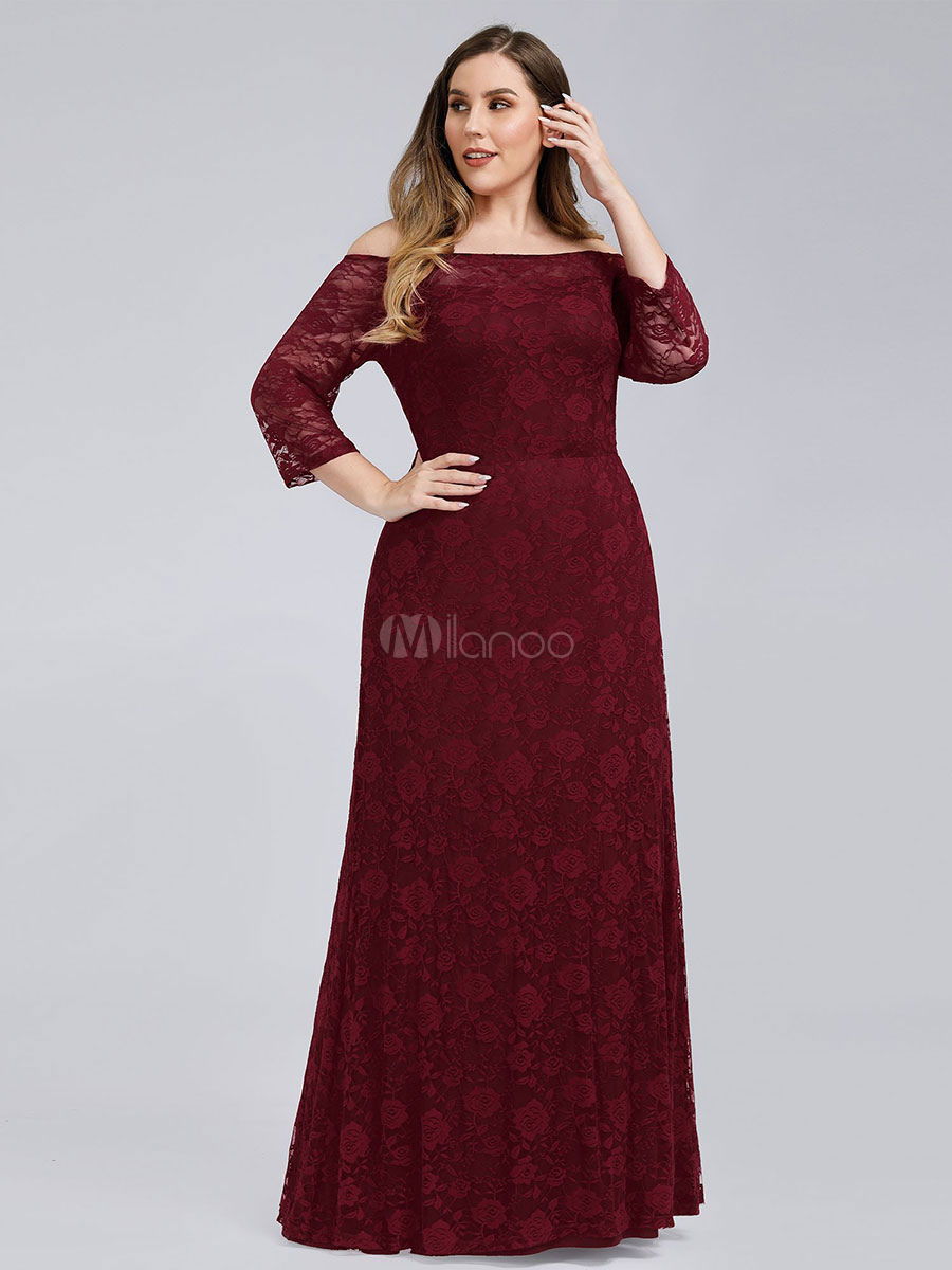 Evening Dress 2020 Sheath Off The Shoulder Floor Length Long Sleeves Lace  Plus Size Formal Party Dresses