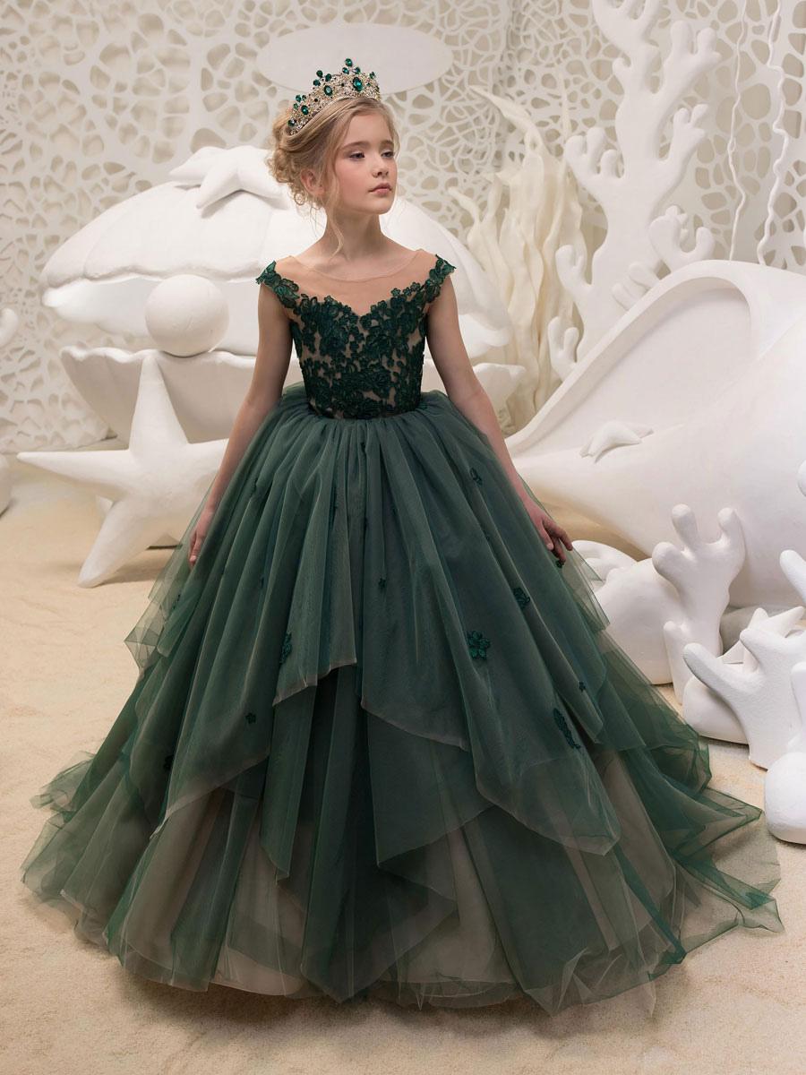 Blumenmädchen Kleider Prinzessin Dunkelgrün Abendkleider für Hochzeit mit  Schleppe Illusion Ausschnitt Tüll ärmellos kleid blumenmädchen Knöpfe