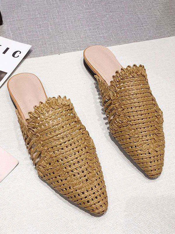 Womens Mules Woven Leather Khaki