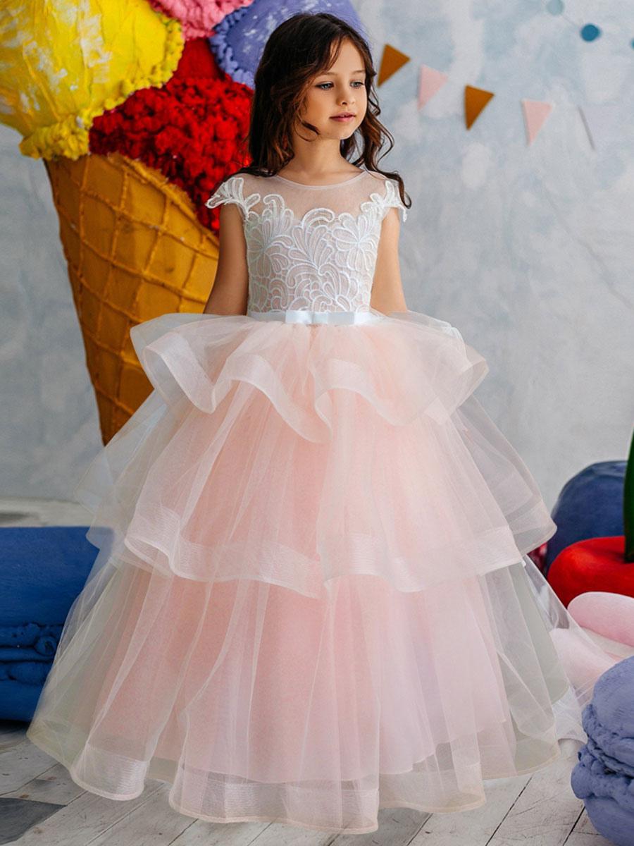 blumenmädchen kleider prom- hellrosa abendkleider für hochzeit knöchellang  mit rundkragen hochzeit tüll kurzarm kleid blumenmädchen