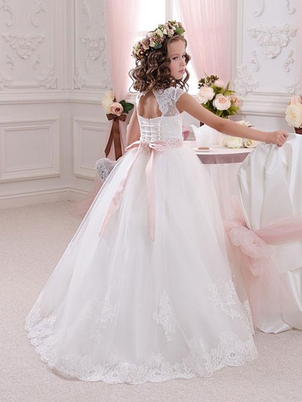 Blumenmädchen Kleider Weiß Abendkleider für Hochzeit Tüll ...