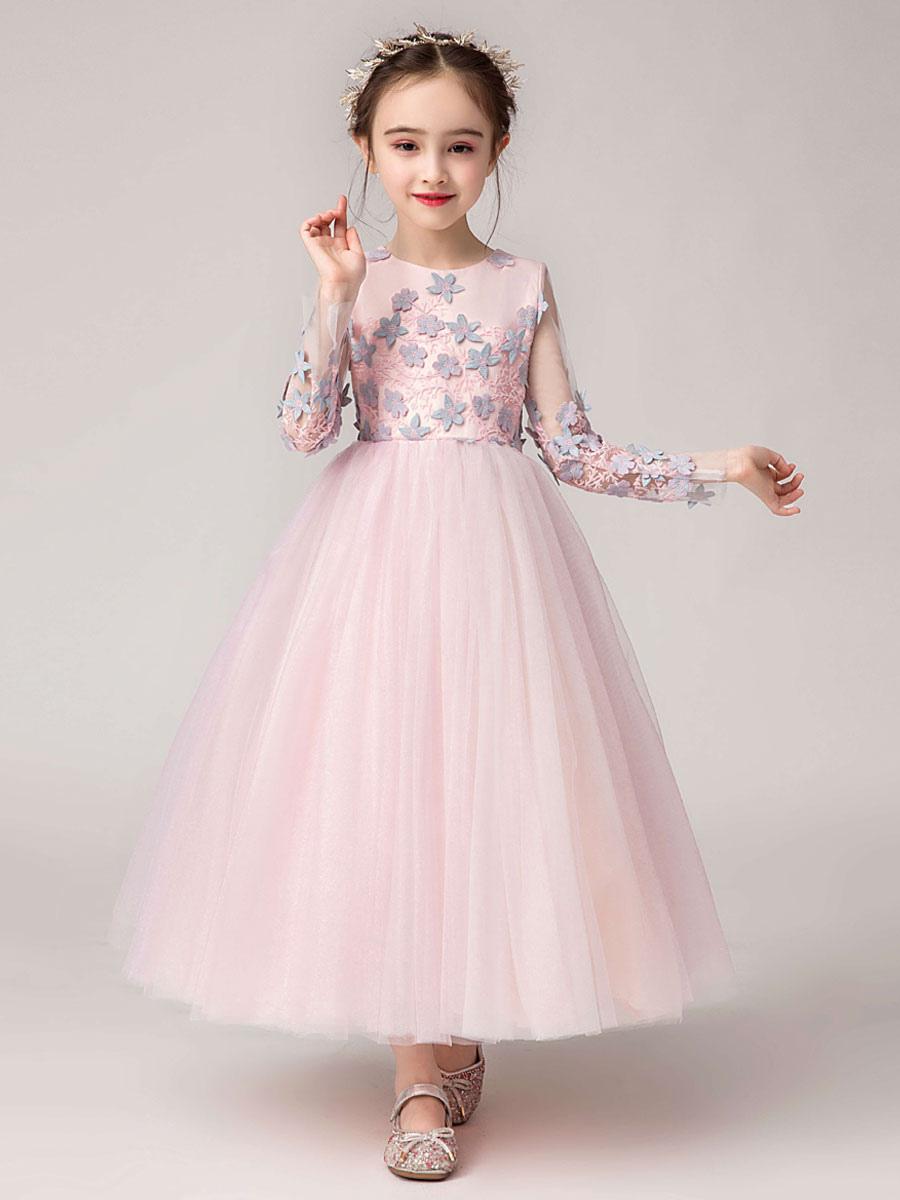 Blumenmädchen Kleider Prinzessin Weiß Abendkleider für Hochzeit knöchellang  mit Rundkragen Hochzeit Tüll Langarm kleid blumenmädchen