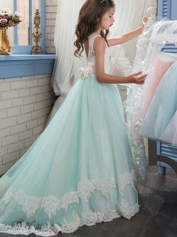 blumenmädchen kleider babyblau abendkleider für hochzeit