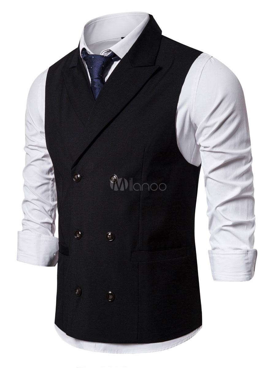 Chalecos De Vestir Para Hombres Diario Casual Casual Chal Botones De Solapa Azul Marino Oscuro