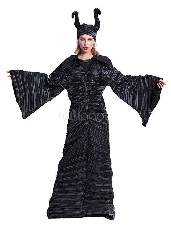 Halloween Costumes Noir Maléfique La Sorcière Noire Femme Stripe Costumes  De Vacances