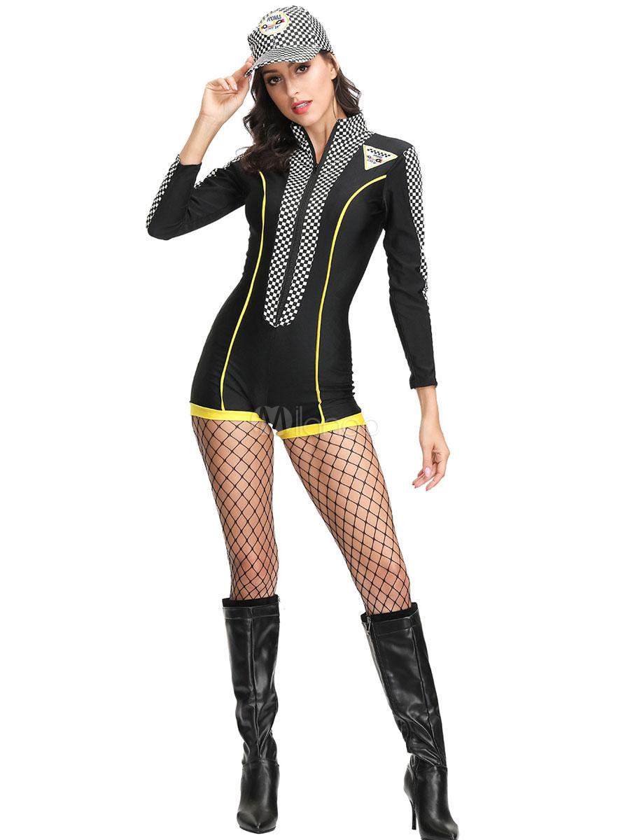 Gedanken an online zum Verkauf suche nach original Rennfahrer Kostüm Stehkragen Reißverschluss Schwarz Overall Set Für Frauen