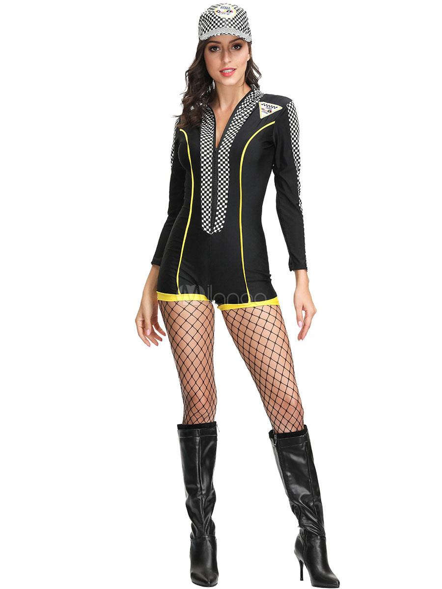Race Car Driver Costume Stand Collar Zipper Black Jumpsuit Set For Women Milanoo Com