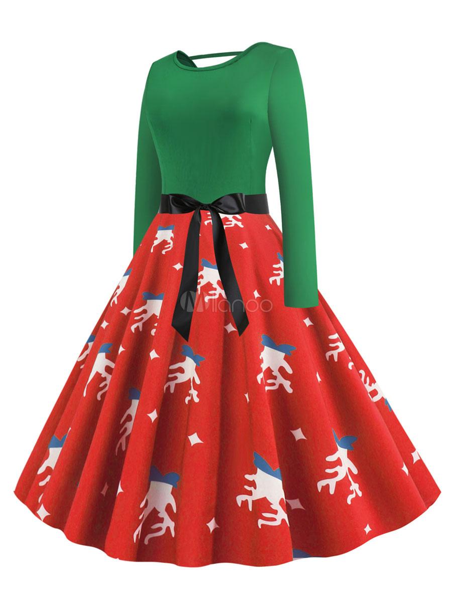 separation shoes 7f5a1 ac91d Abito retrò anni '50 Modello natalizio rosso Donna Archi Maniche lunghe  Collo gioiello Abito rockabilly