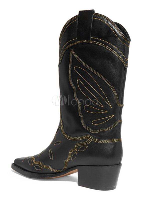 Cowboystiefel Mittlere Waden Stiefel für Frauen Square Toe Embroidered 1.6