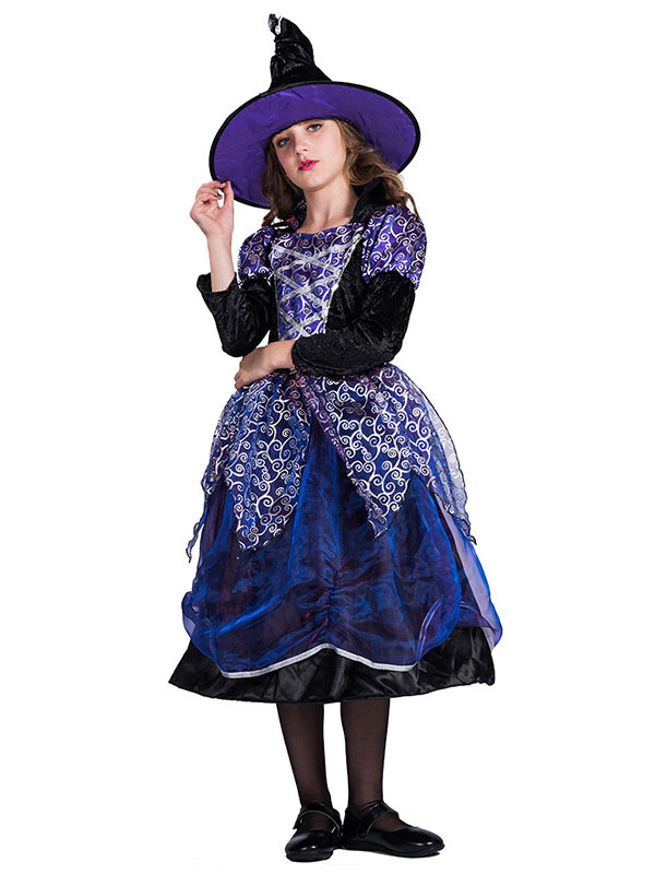 Halloween Vestito Strega Colorato Bambina 4-6 Anni Costume Calze e Cappello Nero
