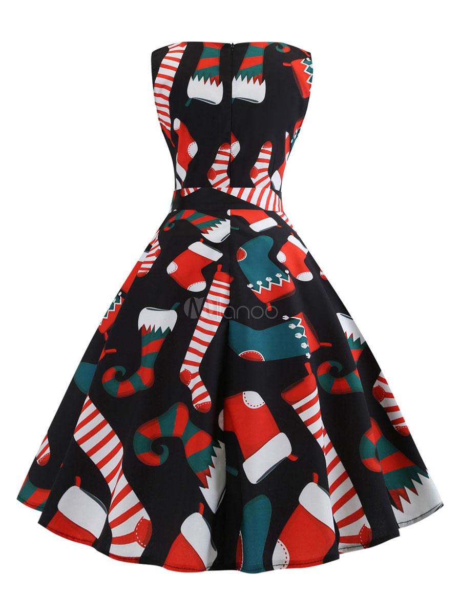 Vintage Kleider Schwarz Weihnachten Motiv 50er jahre mode Rockabilly kleid mit Schleife Kleider ärmellos und Rundkragen Polyester im Retro Style