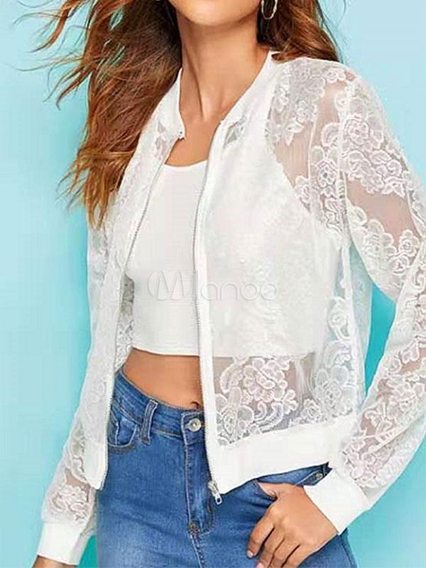 new style 22201 2de24 Giacche da donna Sheer Zipper Street Wear Giacca bianca da donna
